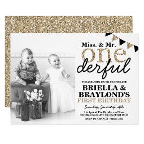 Twins First Birthday Onederful Invitation