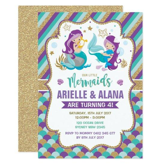 Twins Mermaid Birthday Invitations Girls Pool Party