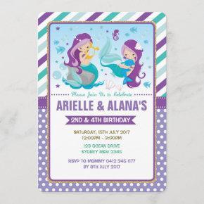 Twins Mermaid Birthday Invitation Sisters Siblings