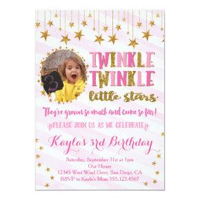 Twins Photo Twinkle Little Stars Birthday Invite