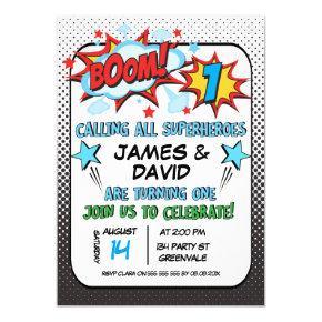 Twins Superhero 1st Birthday Invitation