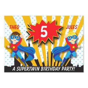 Twins Superhero Birthday | Boys Brown/Blonde Hair Invitation