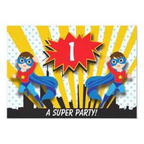 Twins Superhero Birthday | Boys Brown Hair Invitations