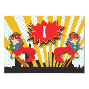 Twins Superhero Birthday  |  Brown Hair Girls Invitation