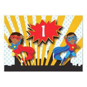 Twins Superhero Birthday Invitation