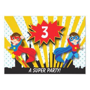 Twins Superhero Birthday Invitation