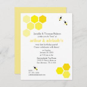 twins sweet bee BIRTHDAY PARTY any year Invitation