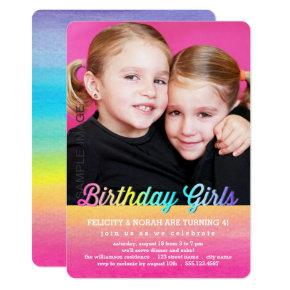 Twins Watercolor Rainbow Birthday Party Invitation