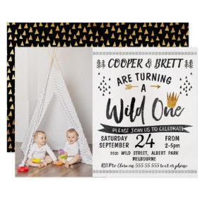 Twins Wild One Photo 1st Birthday Invitations