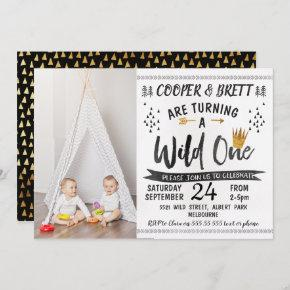 Twins Wild One Photo 1st Birthday Invitation