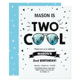 Two Cool birthday invitation boy 2nd birthday Blue