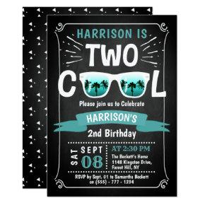 Two Cool Boys Chalkboard 2nd Birthday
