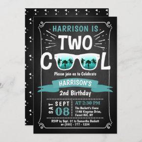 Two Cool Boys Chalkboard 2nd Birthday