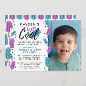 TWO COOL Kid's 2nd Birthday Summer Ice Pop Photo Invitation
