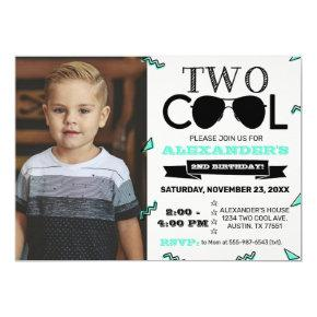 Two Cool Retro Second Birthday Photo Invitation