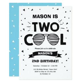 Two Cool Sunglasses Boy Second Birthday Party Invitation