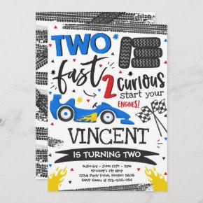 Two Fast Birthday Party Red Race Car 2nd Birthday Invitation