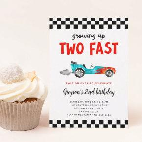 Two Fast Race Car Boy 2nd Birthday Party Invitation