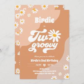 Two Groovy 2nd Birthday Party Boho Retro Daisy Invitation