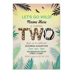 Two Jungle 2nd Birthday Party Safari ZOO Invite