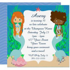 Two Mermaids Pool Party Invitations
