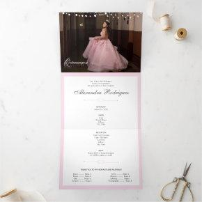 Two Photo Pink Silhouette with Moon Quinceanera Tri-Fold Invitation