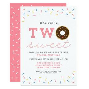 Two Sweet Donut and Sprinkles 2nd Birthday Invitation
