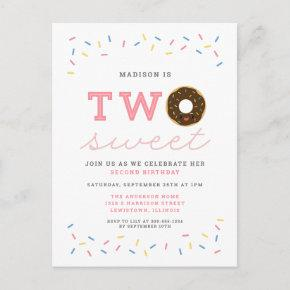 Two Sweet Donut and Sprinkles Pink 2nd Birthday Invitation Post