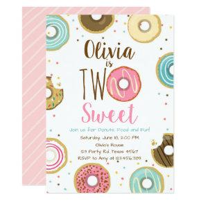 Two Sweet Girl Pink Donut 2nd Birthday Invitation