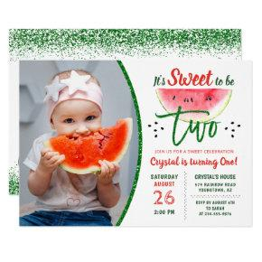 Two Sweet Glitter Watermelon Second Birthday Photo Invitation