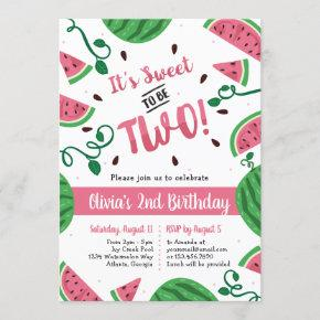 Two Sweet Watermelon Birthday Party Invitation