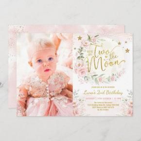 Two the Moon Blush Pink Flowers 2nd Birthday Girl Invitation