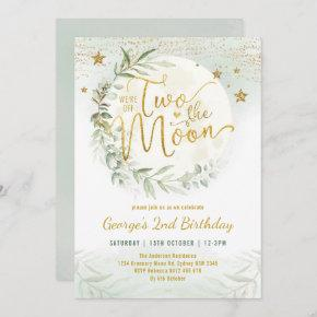 Two the Moon Greenery Gold Neutral 2nd Birthday Invitation