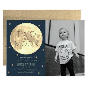 Two the Moon Navy Blue Boy Photo 2nd Birthday Invitation
