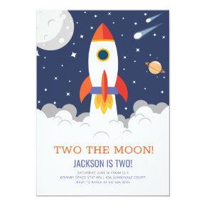 Two the Moon Rocket Ship Birthday Invitation