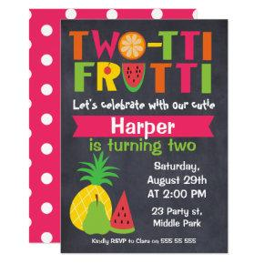 Two-tii Frutti Chaklboard 2nd Birthday Invitation