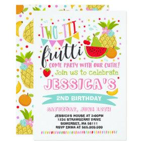Two-tti Frutti Party Invitations 2nd Birthday Party