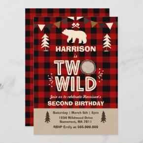 Two Wild Birthday Invitation Lumberjack Two Wild