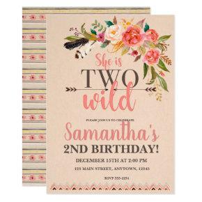 Two Wild Boho Chic Birthday Invitation