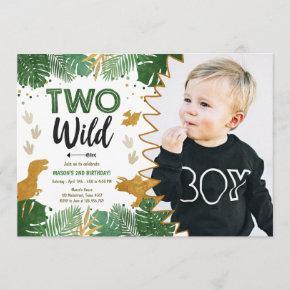 Two Wild Dino Party Boy Gold Dinosaur 2nd Birthday Invitation