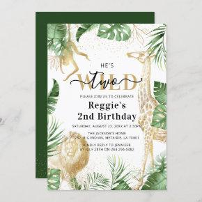Two Wild Jungle Greenery & Gold 2nd Birthday Party Invitation