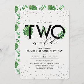 Two Wild Modern Tropical Greenery 2nd Birthday Invitation