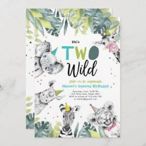 Two Wild Safari Animals Boy Birthday Invitation