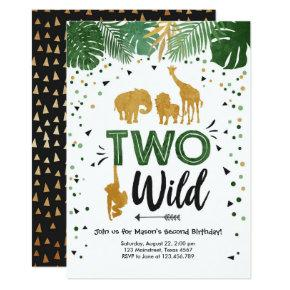 Two Wild Safari Gold Boy Animals Birthday Party Invitation