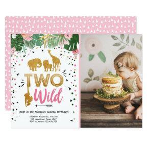 Two Wild Safari Gold Girl Animals Birthday Party Invitation