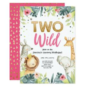 Two Wild Safari Gold Girl Animals Birthday Party Invitation