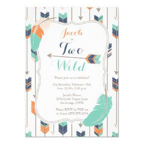 TWO Wild Tribal Arrows Birthday Party Blue Green Card