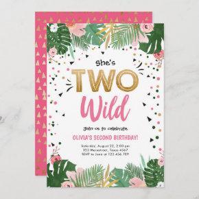 Two Wild Tropical Safari Gold Girl Second Birthday Invitation
