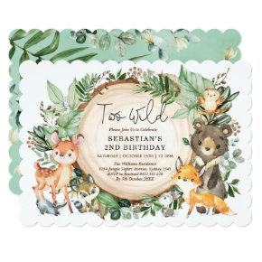 Two Wild Woodland Greenery Animals 2nd Birthday Invitation