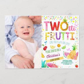 Twotti Frutti 2nd Girl Birthday Custom Photo Invitation